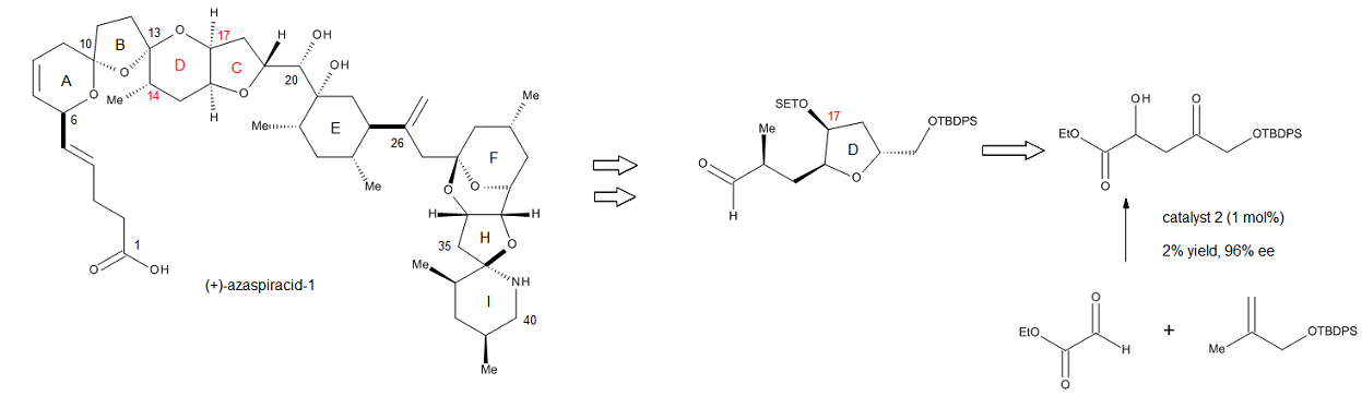 Figure 19. Structure of (+)-azaspiracid-1 and the ene reaction used to introduce the C17 stereocenter.