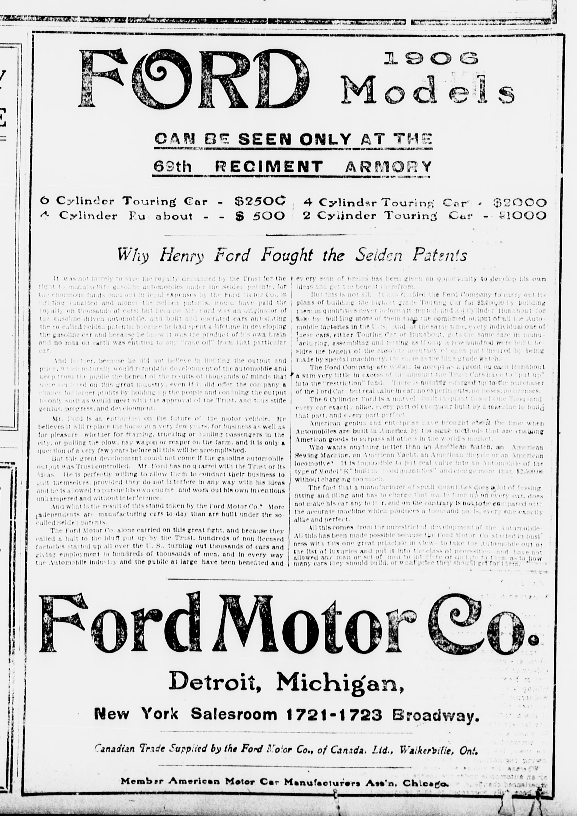 File ford motor co advertisement the sun 1906 01 14 for Ford motor company description