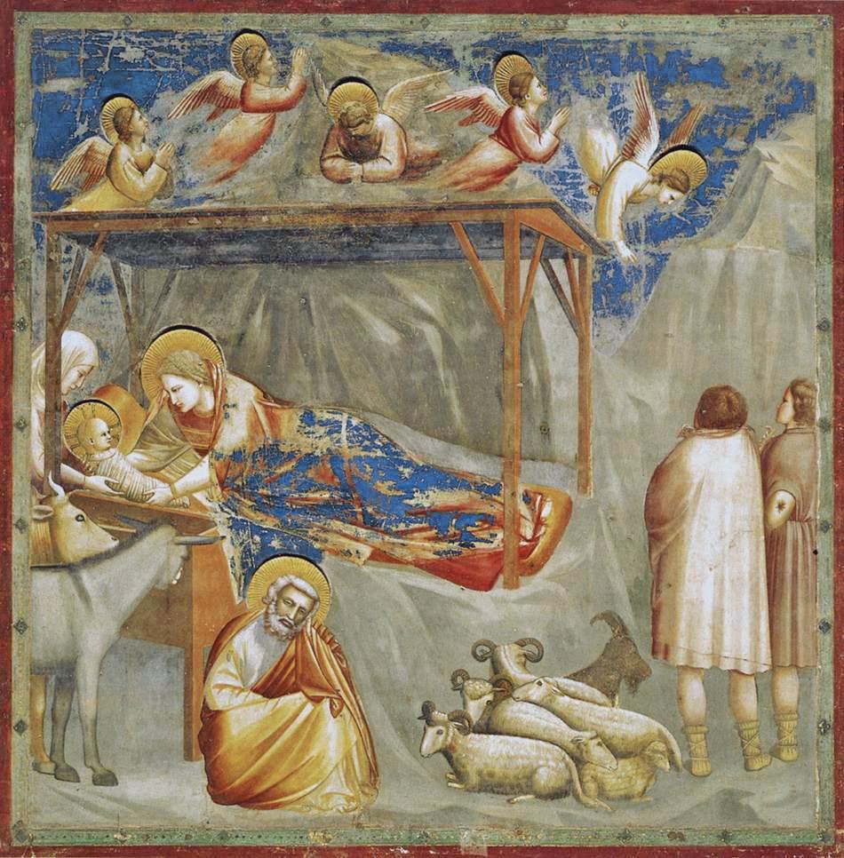 Natividad, por Giotto di Bondone de la capilla Scrovegni