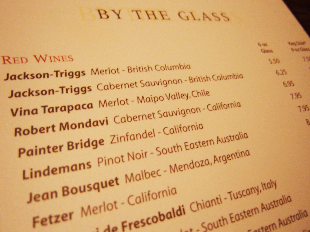 List of Wines on a Restaurant Menu