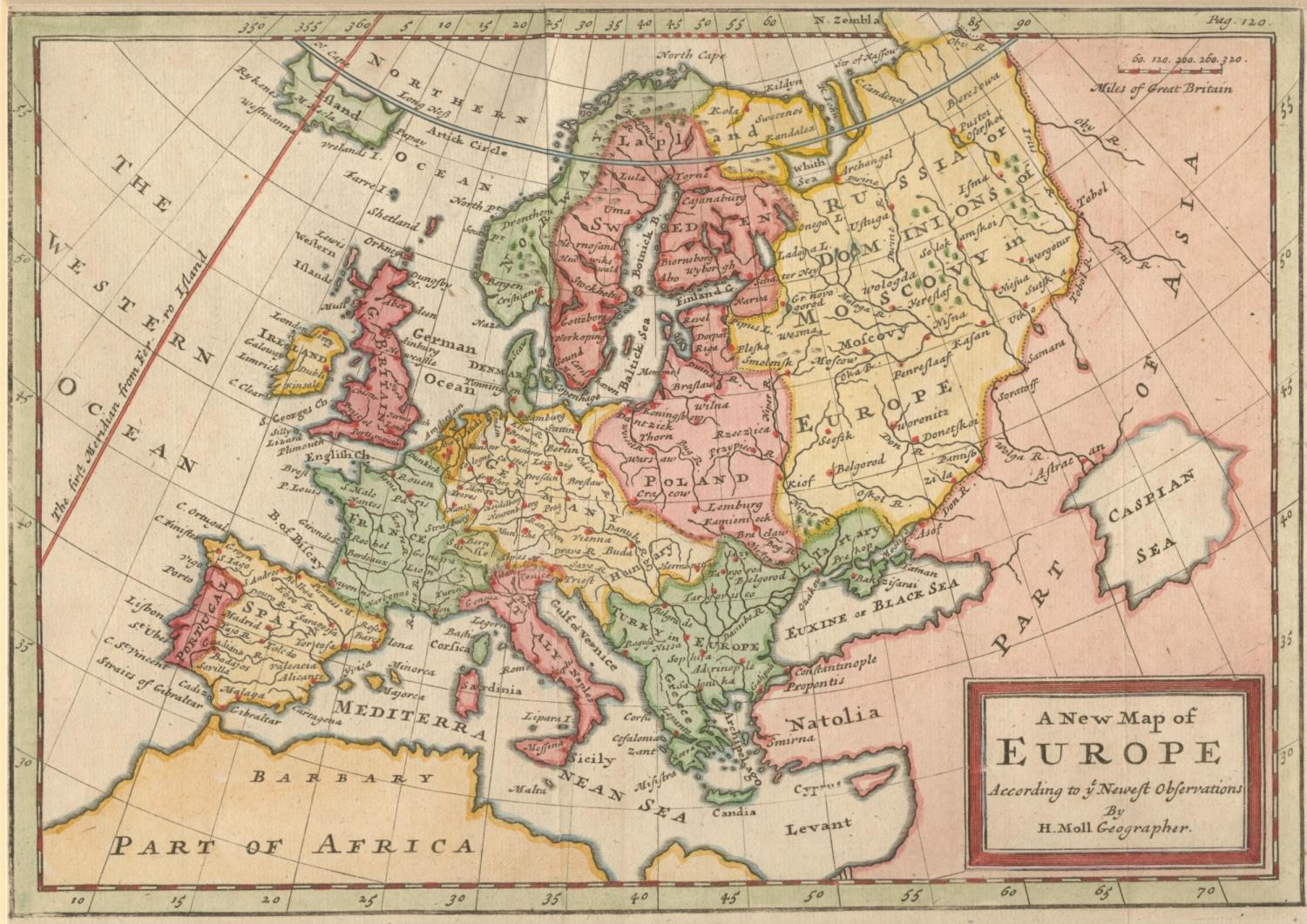 File:Herman Moll A New Map of Europe According to the Newest Observations  1721.