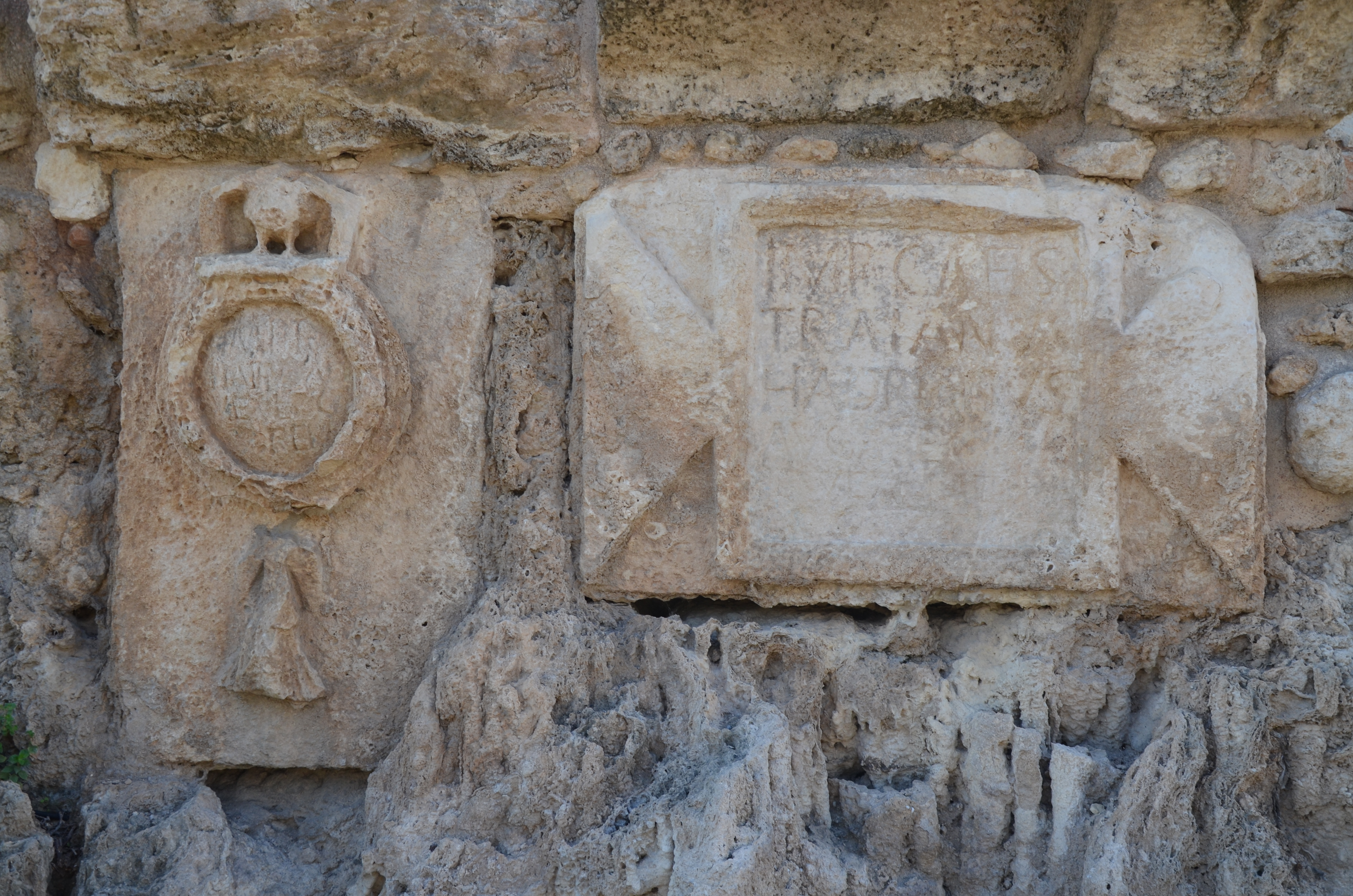 File Inscription From The High Level Aqueduct Of Caesarea At Beit Hananya With Emblem Depicting 10th Legion Israel 15159315893 Jpg