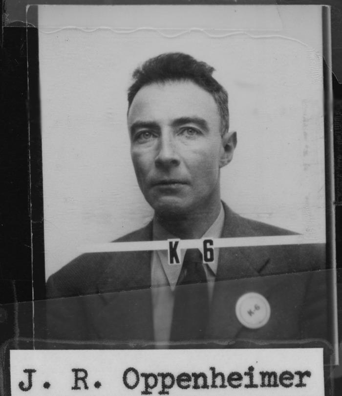 Oppenheimer's ID badge from the Los Alamos Laboratory