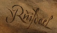 signature on a painting reading J v Ruisdael
