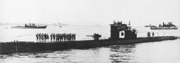 German submarine U-511 was the first U-boat to reach the eastern Indian Ocean and was presented to Japan as IJN RO-500. Japanese submarine RO-500 in 1943.jpg