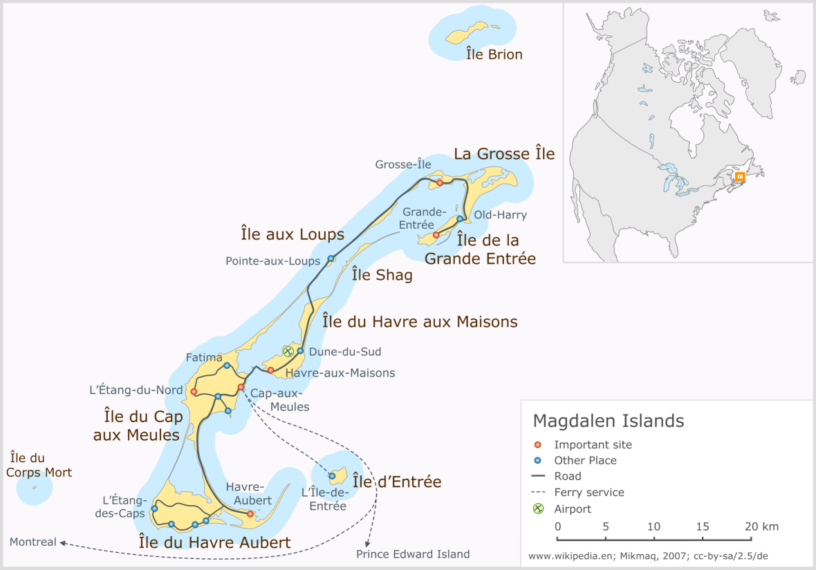 Magdalen Islands Map Magdalen Islands   Wikipedia