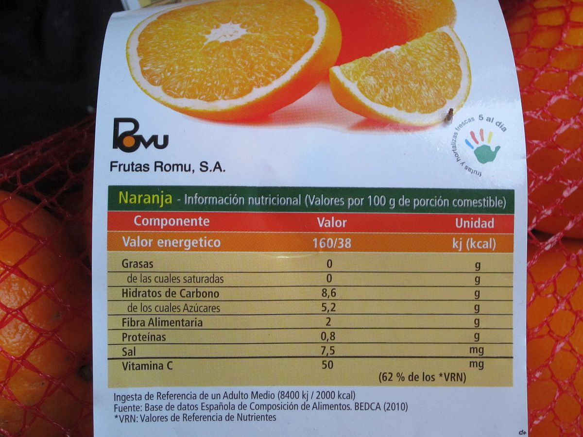 Food List With Nutritional Information