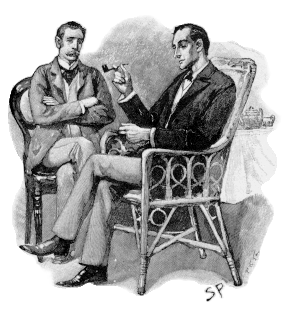 Sherlock Holmes, right, hero of crime fiction, confers with his colleague Dr. Watson; together these characters popularized the genre.