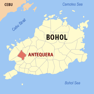 Map of Bohol showing the location of Antequera
