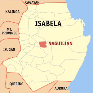 Map of Isabela showing the location of Naguilian