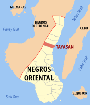 Map of Negros Oriental showing the location of Tayasan