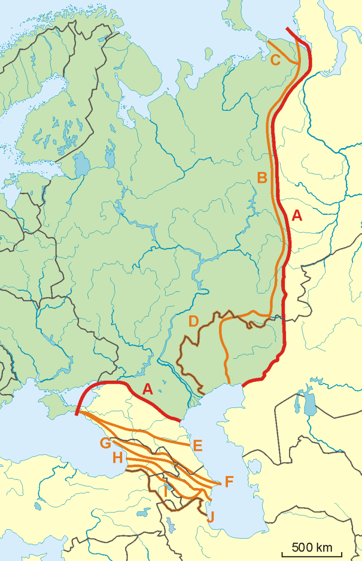 Boundary Map Of Asia.File Possible Definitions Of The Boundary Between Europe And Asia