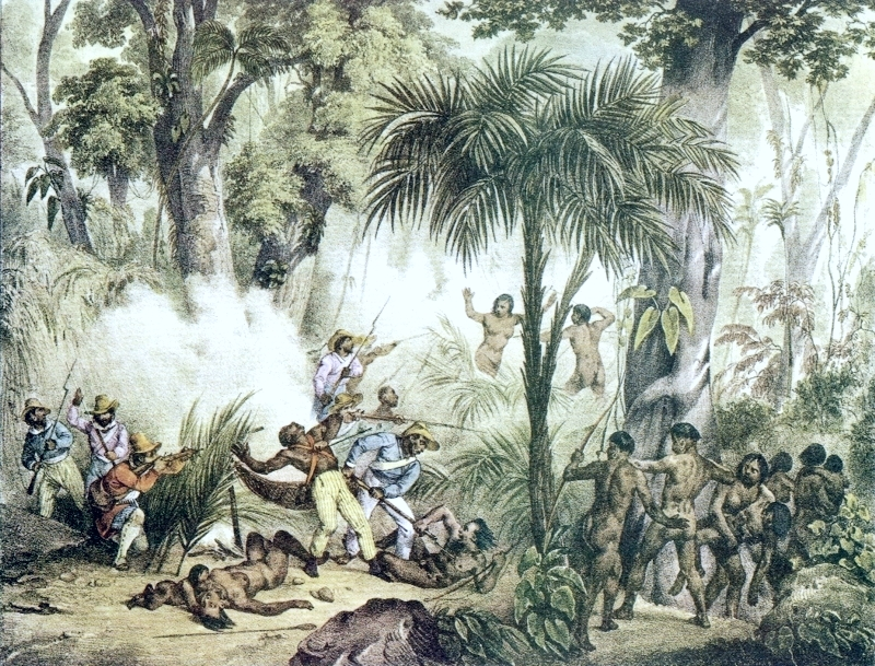 combate entre militares e indigenas