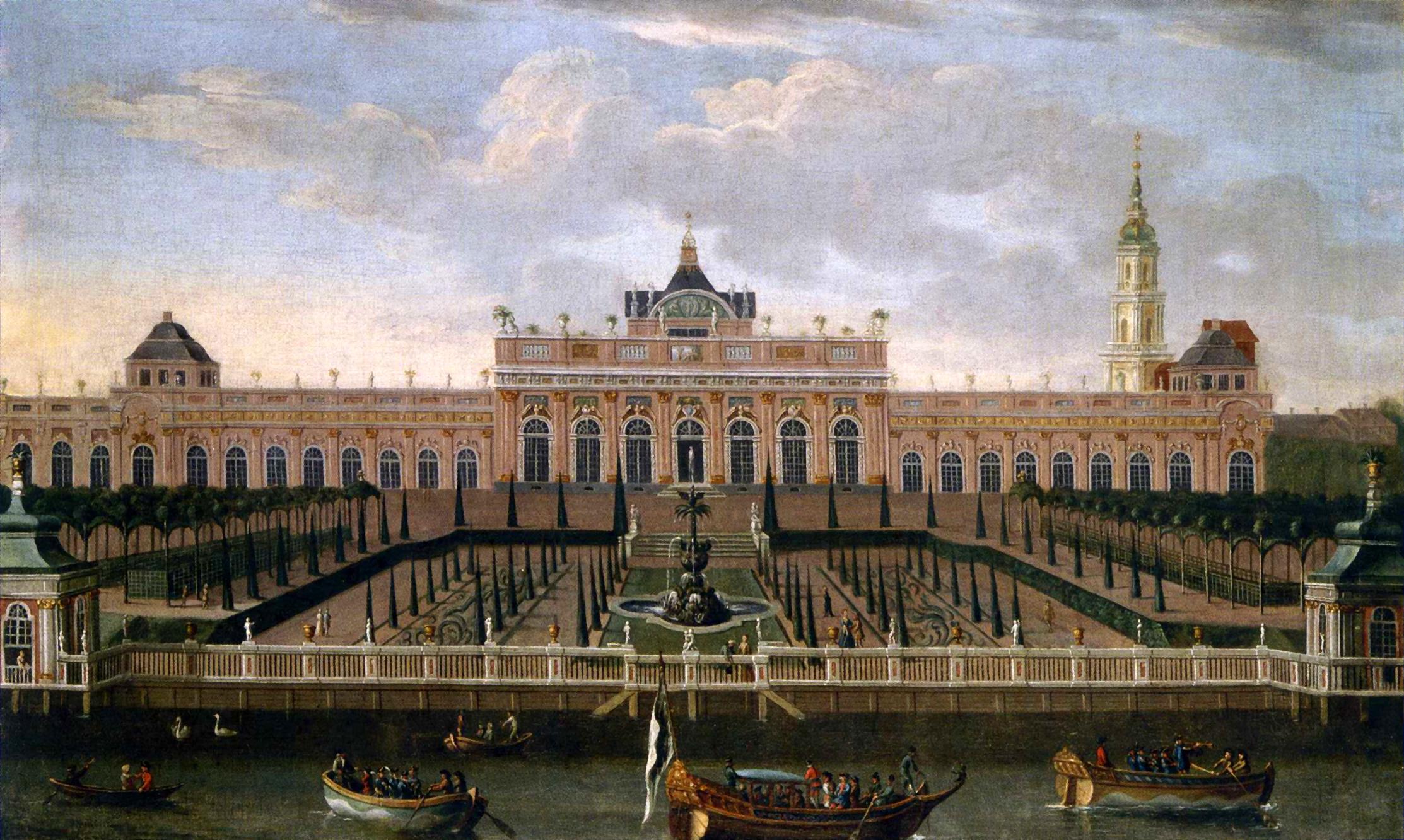 Schloss Monbijou mit der Sophienkirche im Hintergrund - Gemälde von Dismar Dägen um 1740