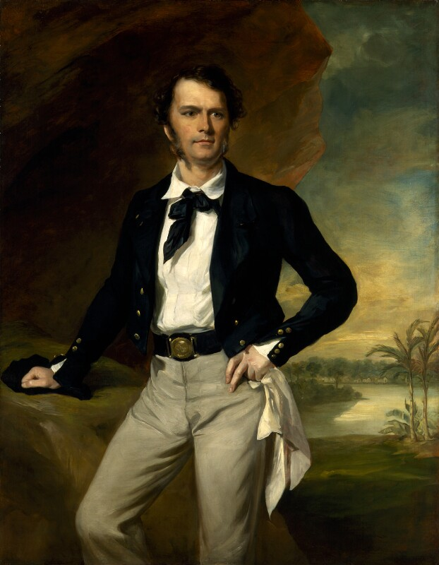 Brooke painted by Francis Grant, standing next to a rock in front of a tropical landscape