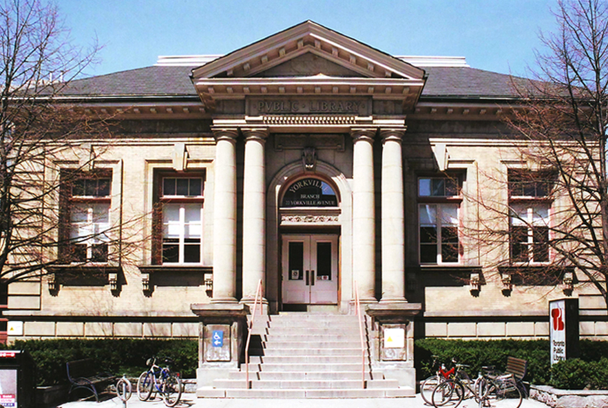 Yorkville Public Library in Toronto, Ontario. A good example of a typical Canadian Carnegie library; Obtained from Wikimedia Commons; Public domain