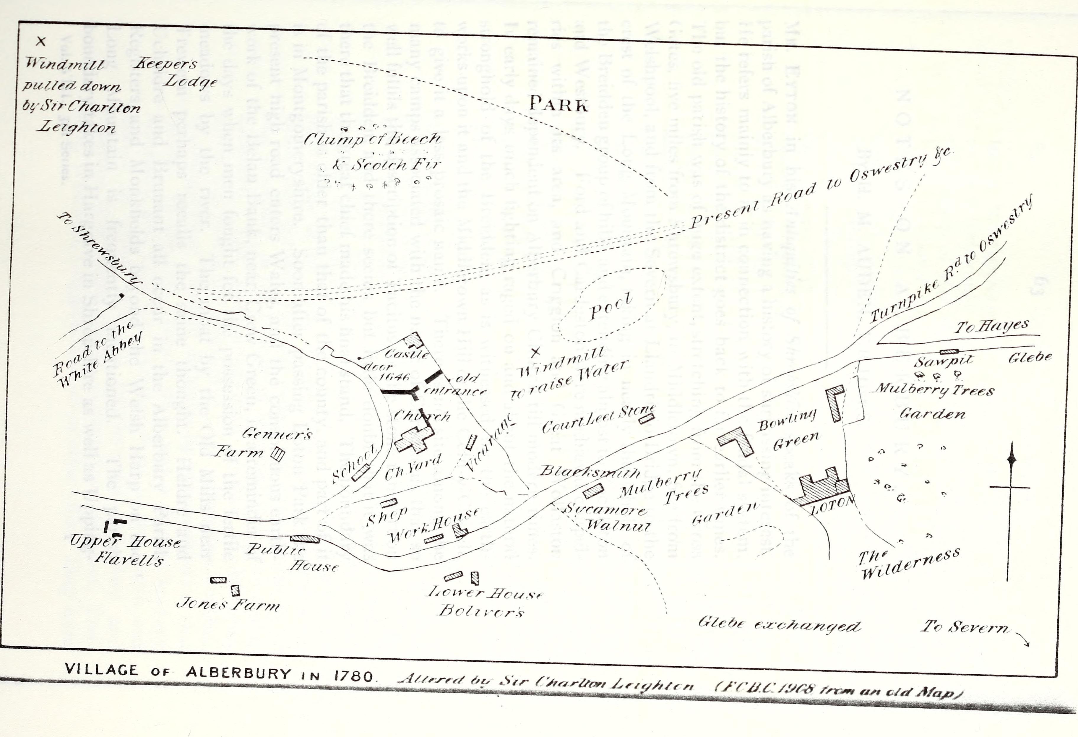 Map of Alberbury in 1780