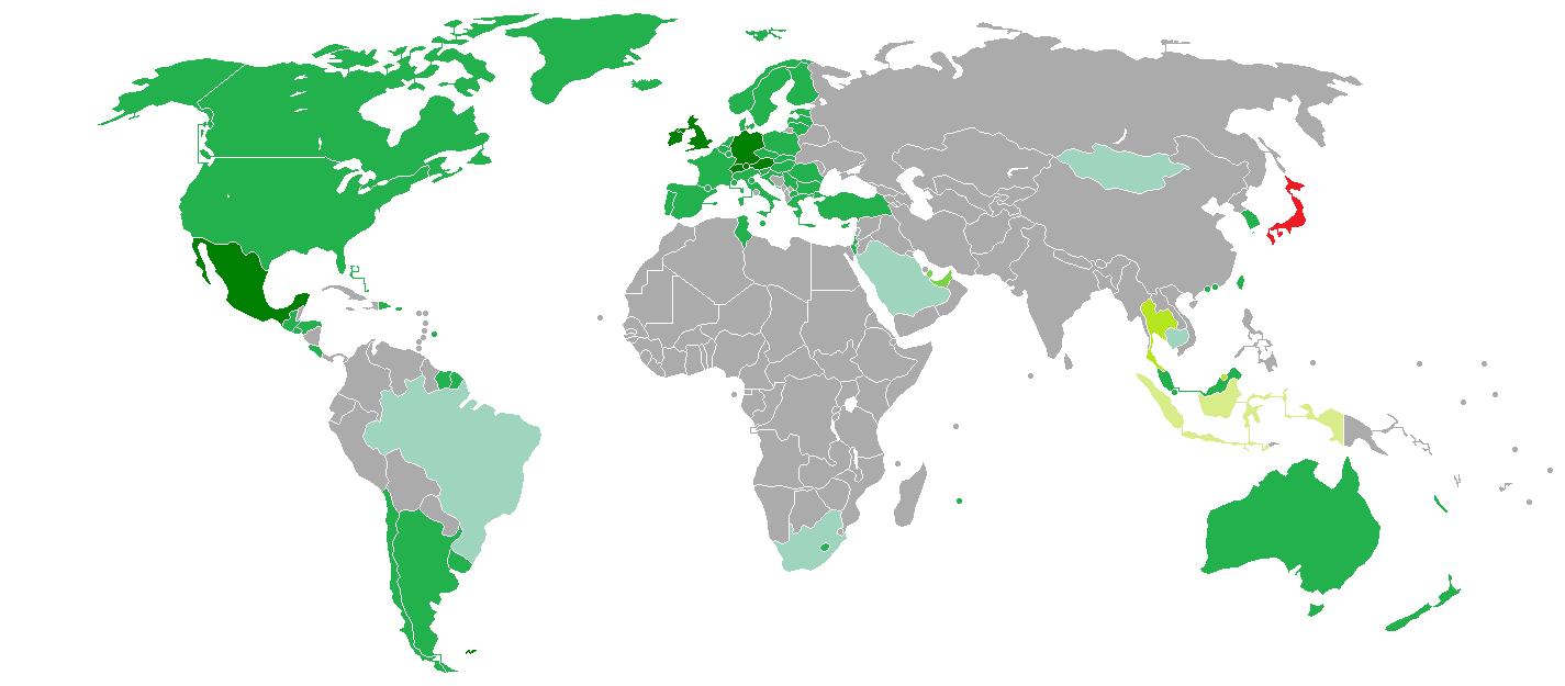 Mappa che indica quali paesi hanno bisogno di un visto giapponese per l'ingresso in Giappone.