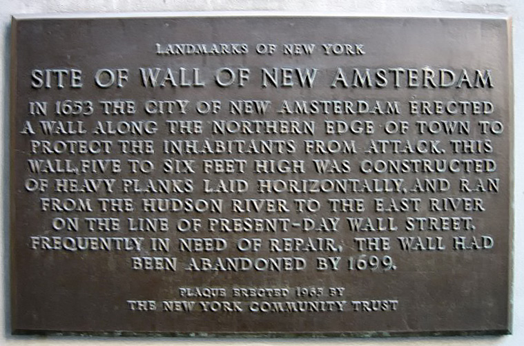Plaque near the corner of Wall Street and Broadway, New York City