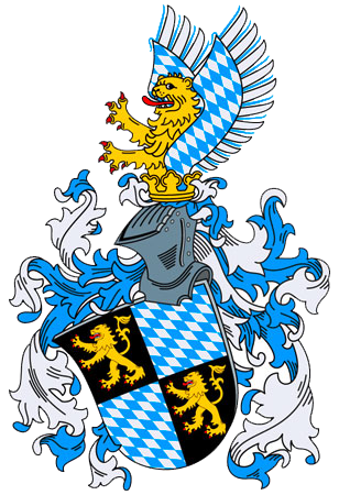 Coat of arms (15th century), the Wittelsbach (Bogen) lozenges quartered with the lion of the Palatinate. Wappen des Herzogs in Bayern (Haus Wittelsbach).png