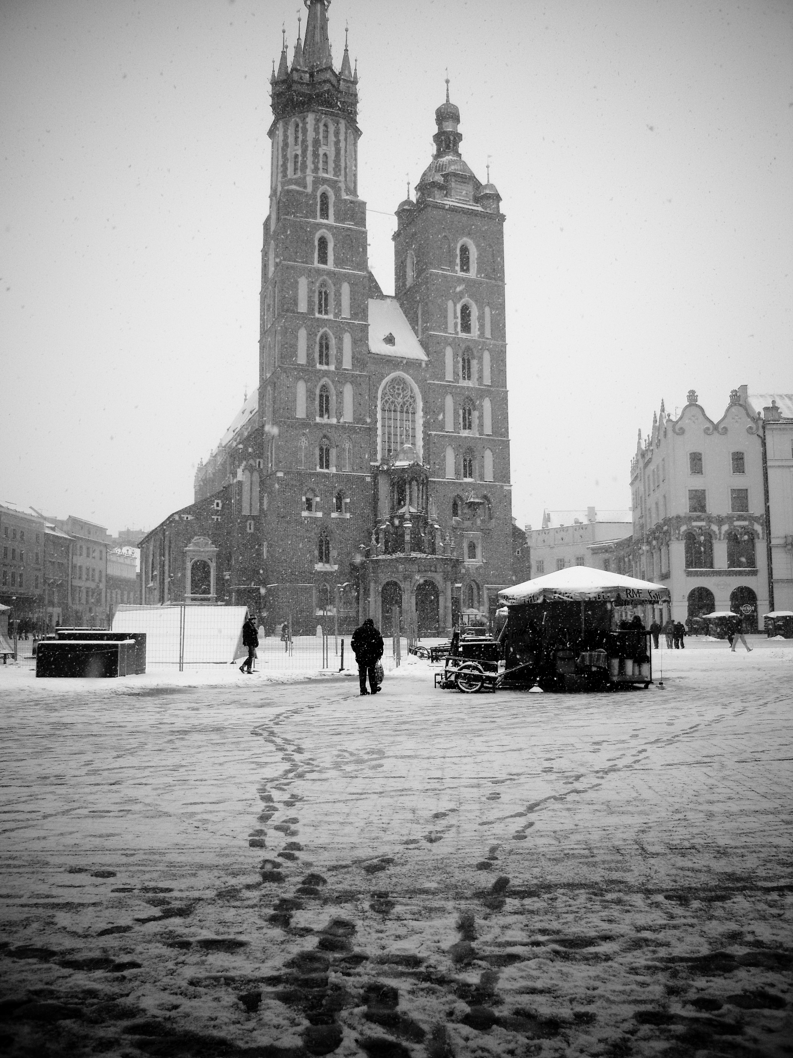 Krakow Black And White Painting