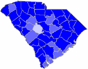1982 South Carolina gubernatorial election map, by percentile by county.   65+% won by Riley   60%-64% won by Riley   50%-54% won by Riley