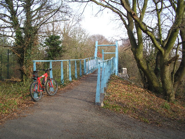 File alban way blue bridge over c road st albans geograph org