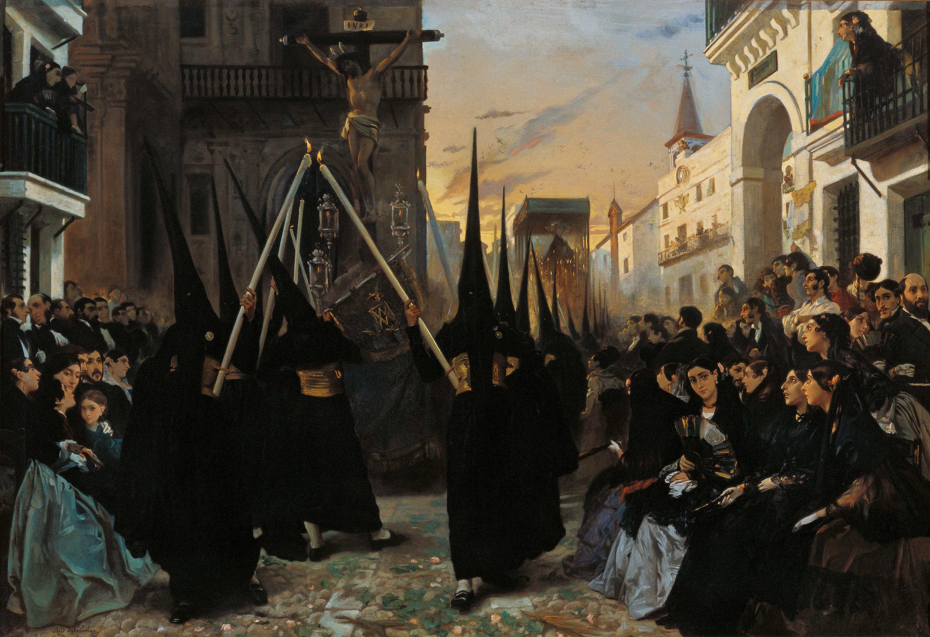 Archivo:Alfred Dehodencq A Confraternity in Procession along Calle Génova.jpg - Wikipedia, la enciclopedia libre