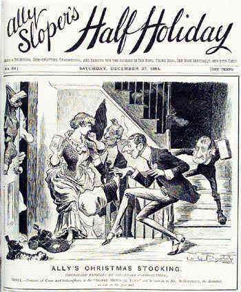 Cover to 27 December 1884 edition of Ally Sloper's Half Holiday. Ally Sloper is regarded as the first recurring character in comics. Ally Sloper's Half Holiday (front cover - 27 December 1884).png