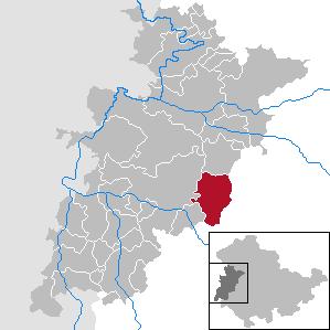 Lage der Stadt Bad Liebenstein im Wartburgkreis