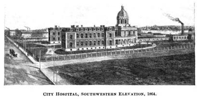 Boston City Hospital, 1880s. Taken by Allen & Rowell. In Photographic Views  of Boston, Mass., Box 3, #12.175.
