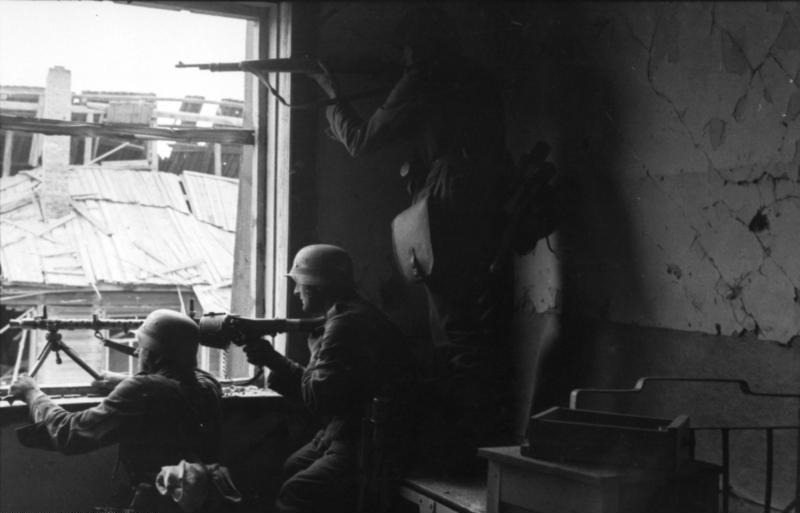 MG34 positioned inside a building