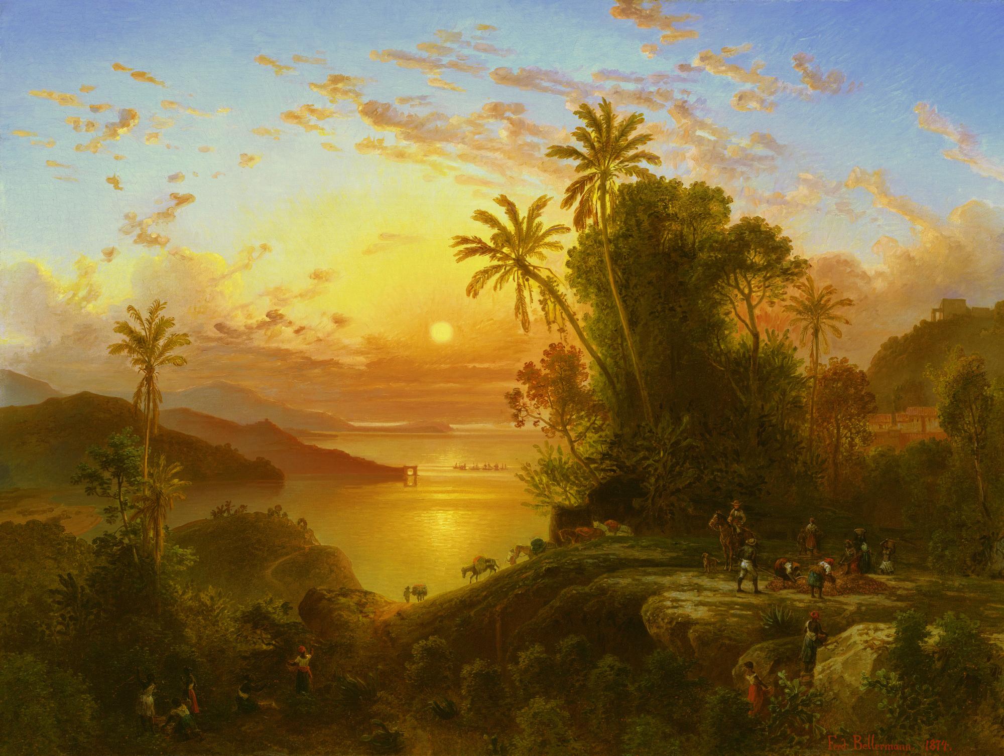 Coast Of Guaira At Sunset By Ferdinand Bellermann Paisajes Pintores