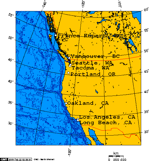 Filedeeater Ports On North America's West Coast Connected To: America West Coast Map At Slyspyder.com