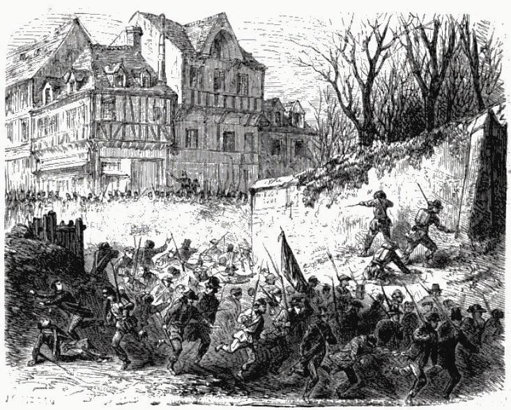 Fighting in the village of Risquons-tout during the 1848 crisis in Belgium.