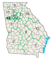 Map of Georgia congressional districts as of the 110th Congress