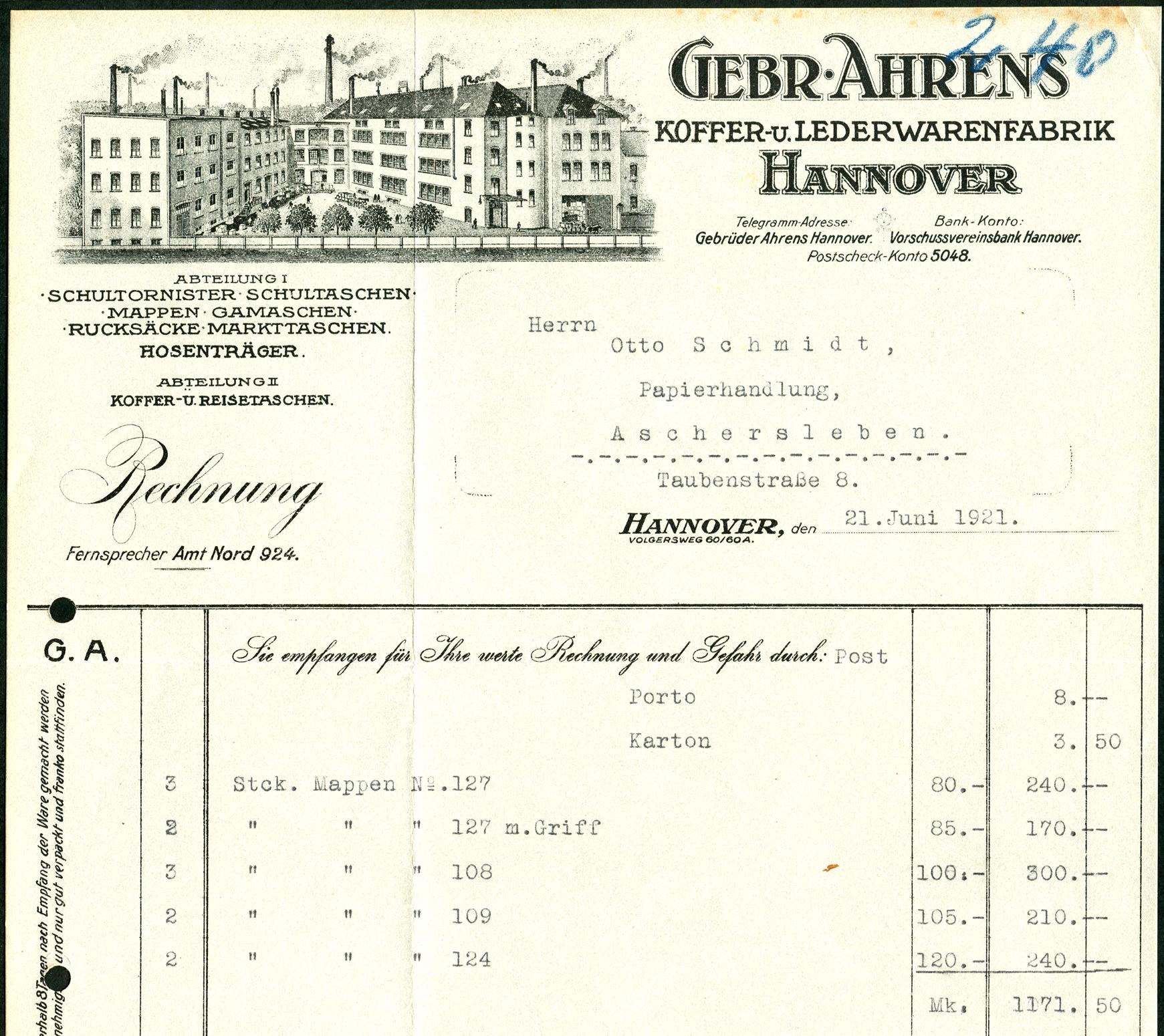 File:Gebr. Ahrens Koffer- und Lederwarenfabrik Hannover Volgersweg ...