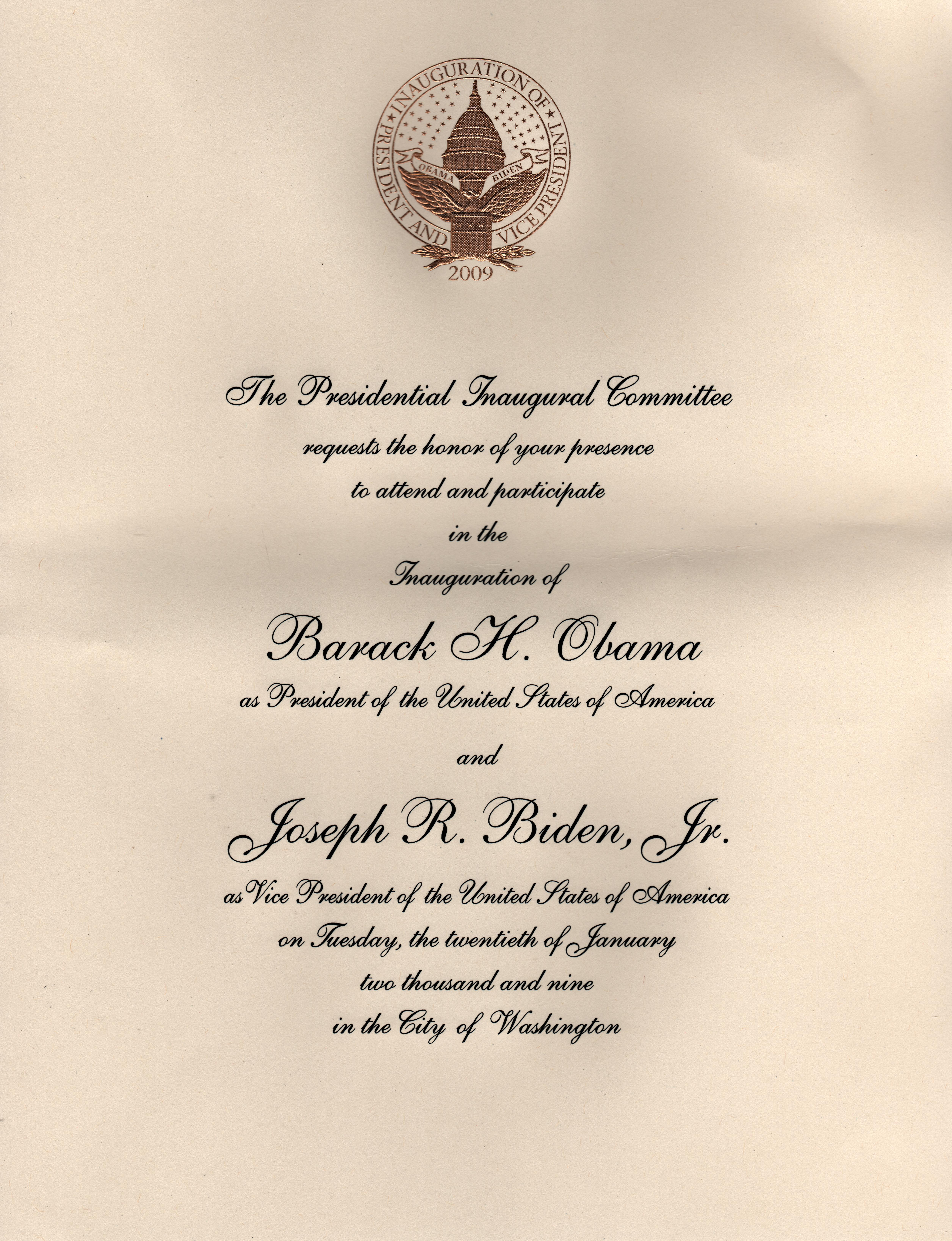 FileInaugural invitation 2009jpg Wikipedia – Inauguration Invitation Card Sample