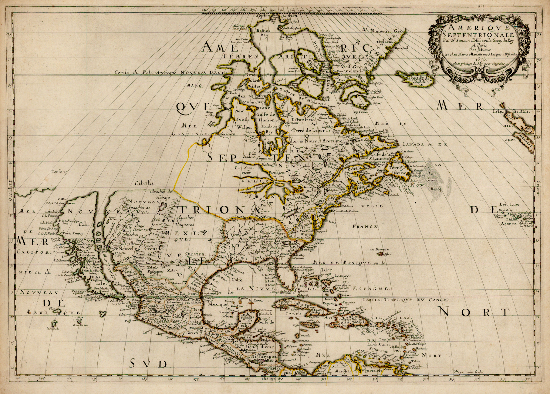 A 1650 map of Sanson's showing [[North America