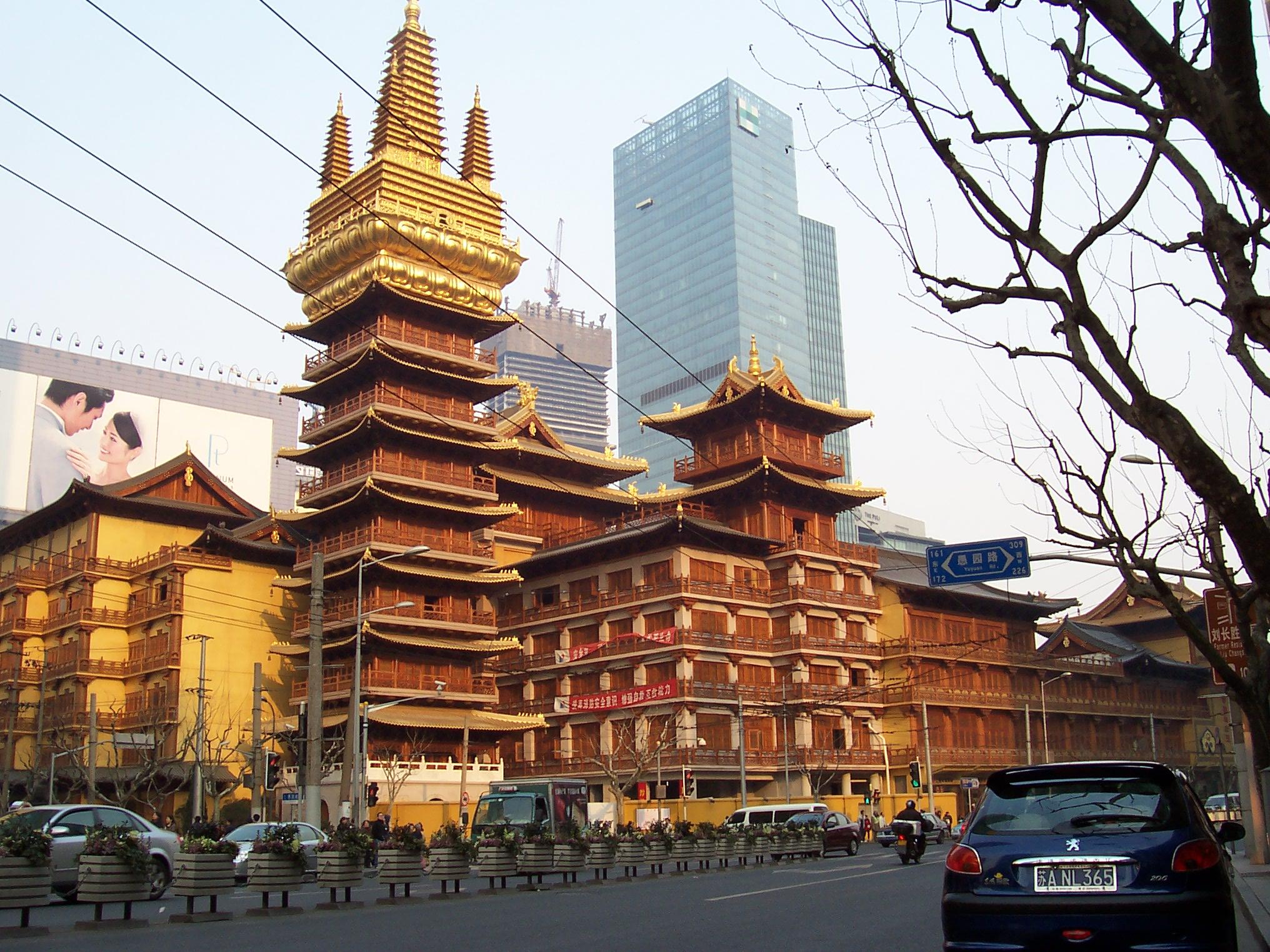File Jing An Temple Shanghai Jpg Wikimedia Commons