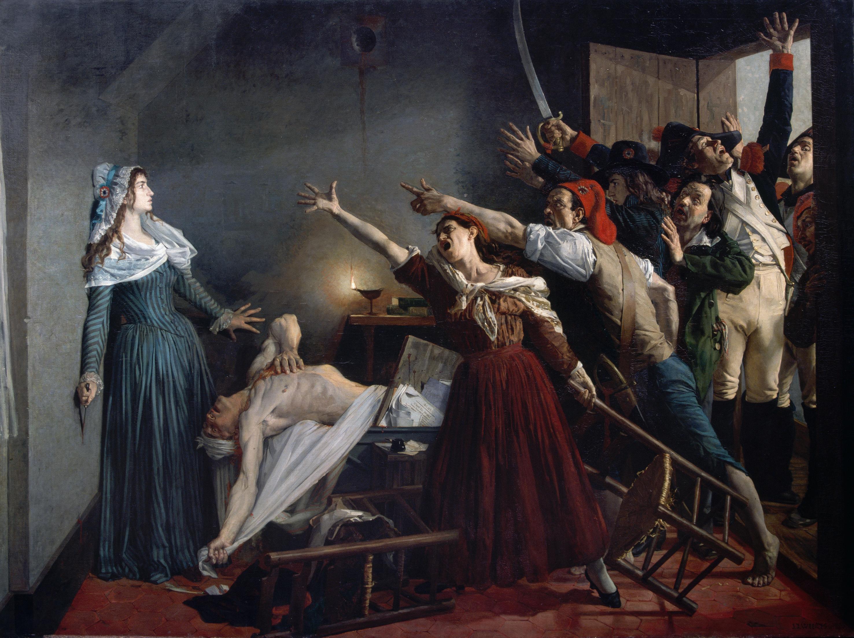 L'Assassinat de Marat de Jean-Joseph Weerts (vers 1880).