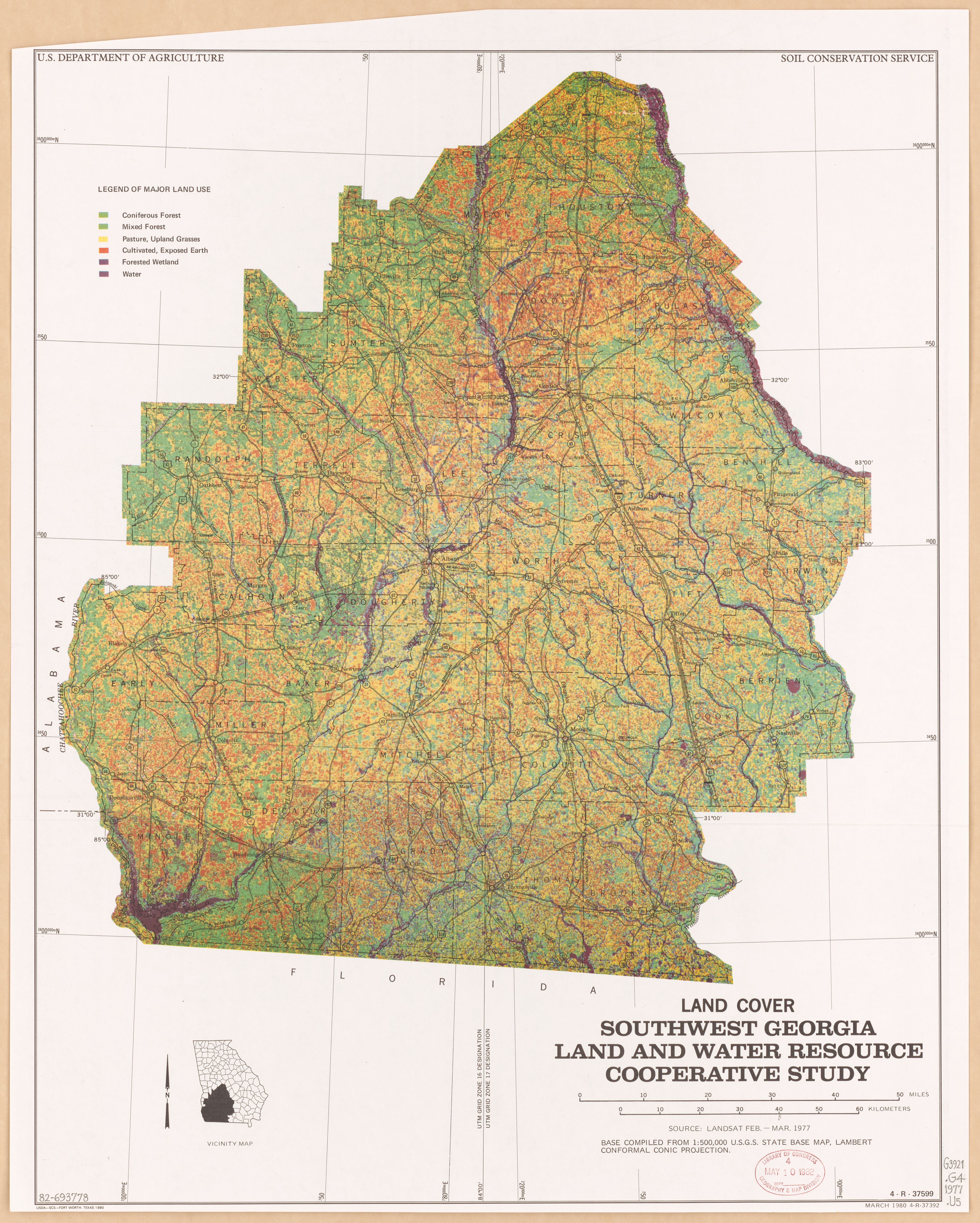 Map Of Southwest Georgia.File Land Cover Southwest Georgia Land And Water Resource