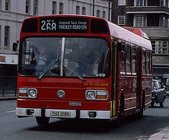 London Transport bus LS109 (THX 109S) 1977 Leyland National, Finchley Road, route 268, July 1978.jpg