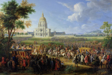 Louis XIV visits the unfinished Les Invalides in 1706