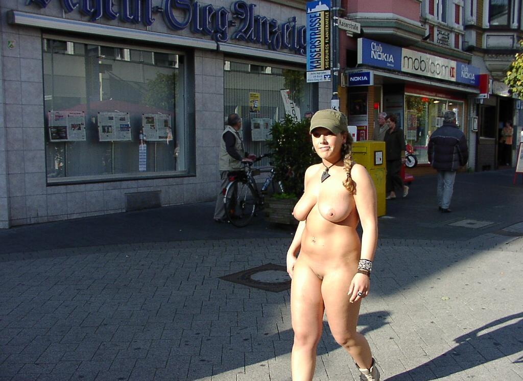 Naked girl in city