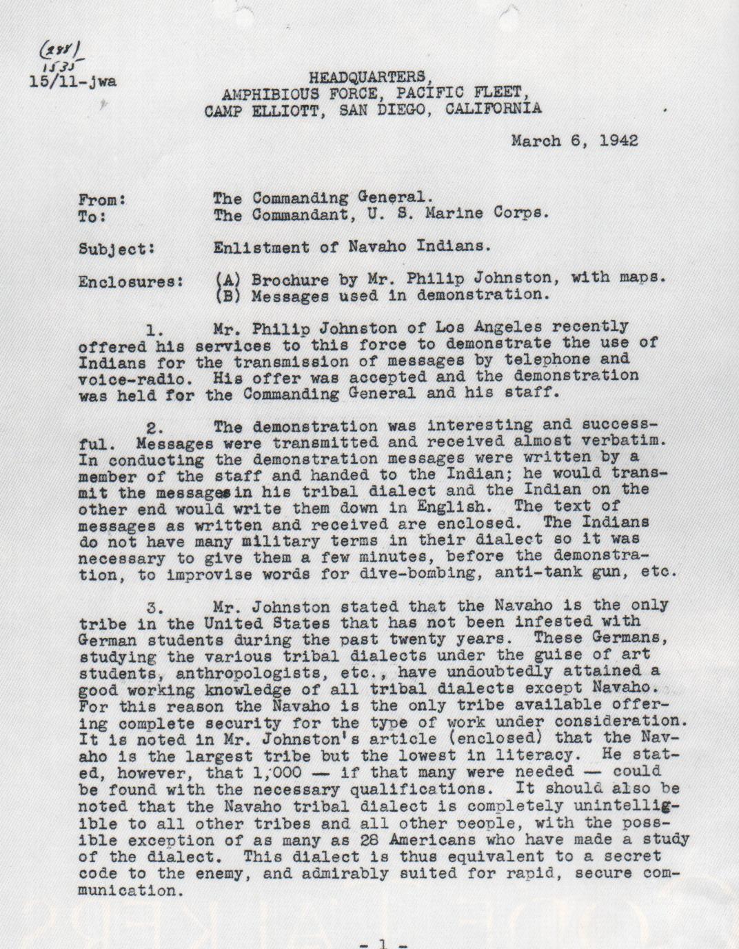Navajo Code Talkers Letter Sample