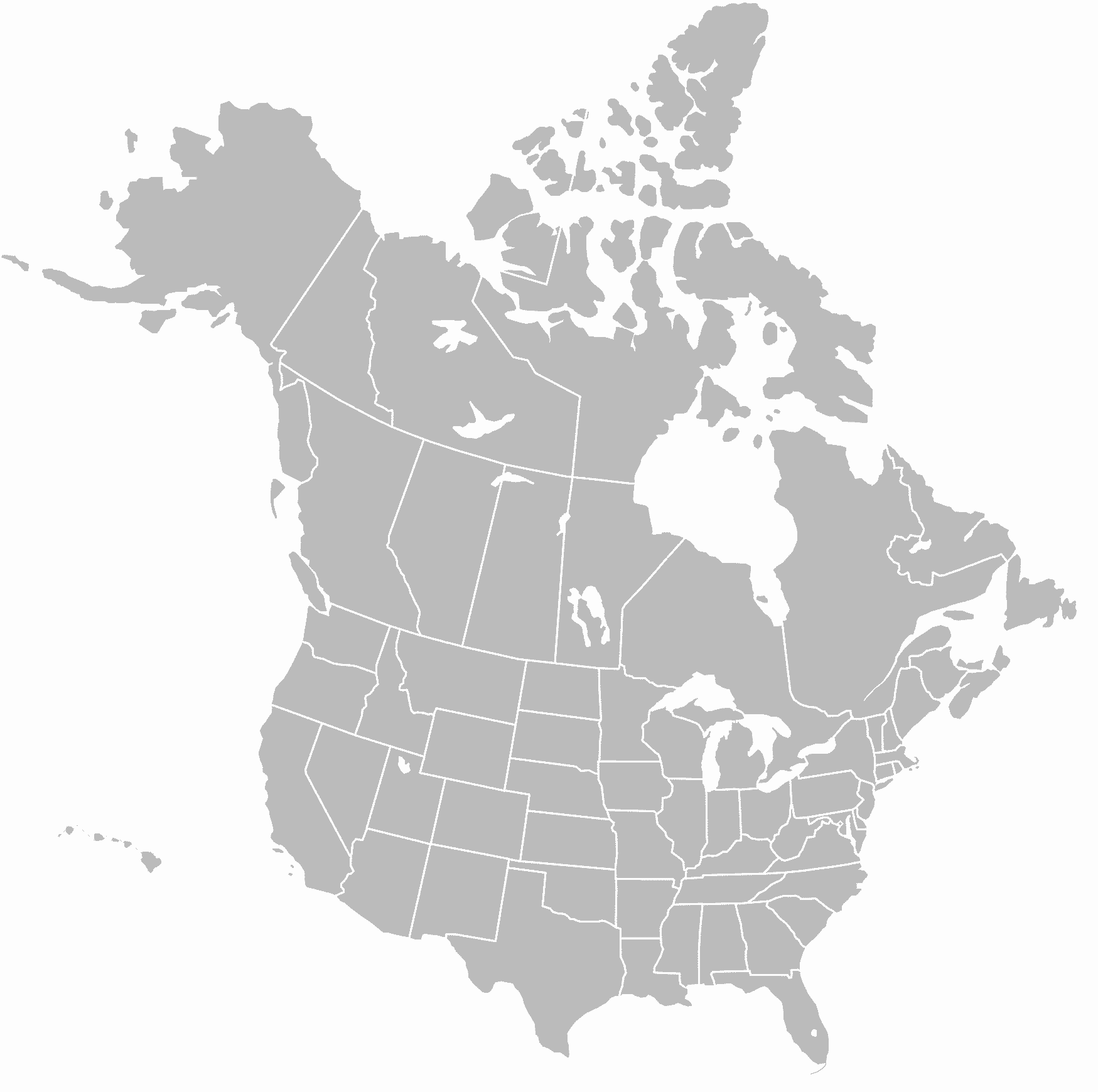 Description North America blank map with state and province boundaries    Blank World Map With States