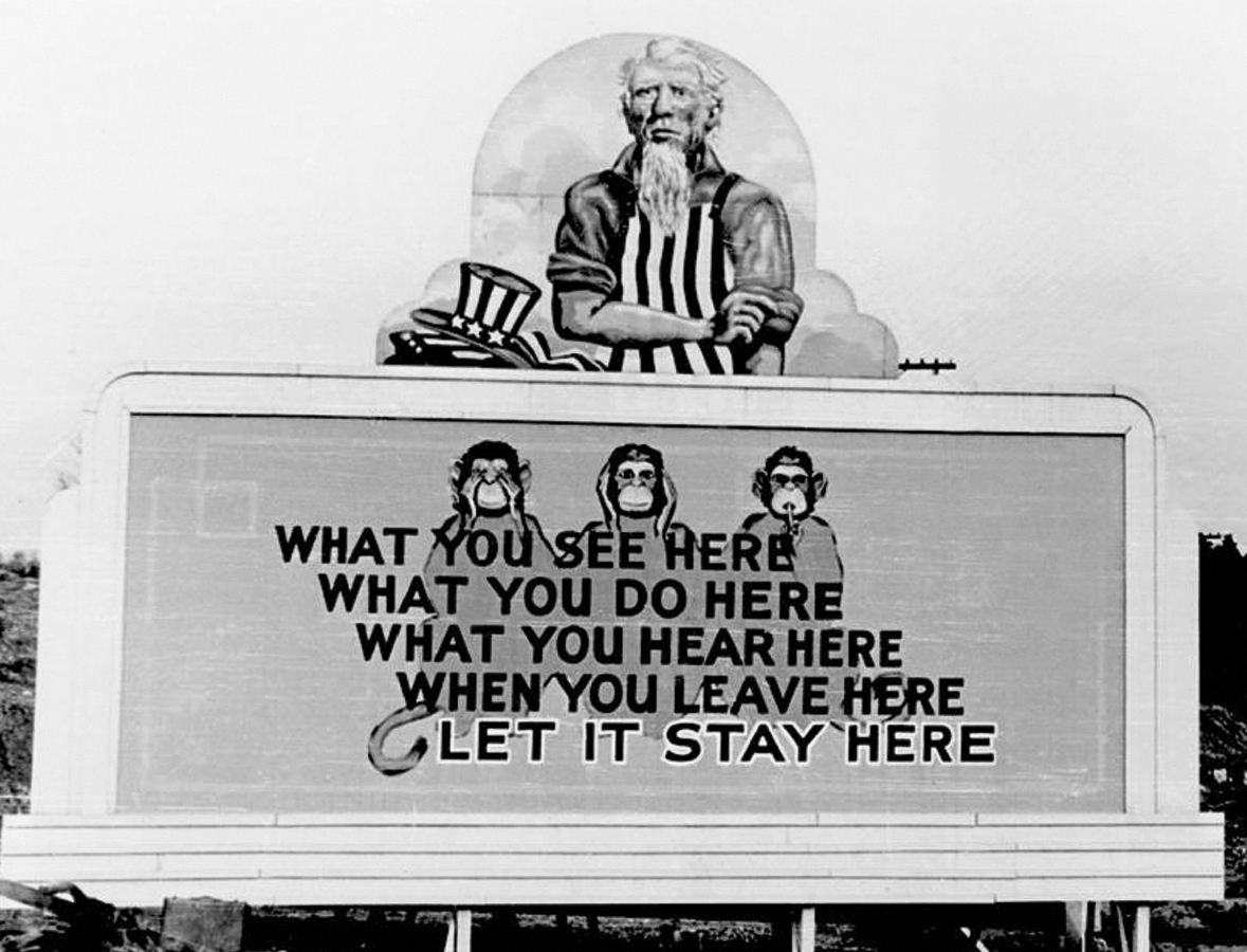 Billboard encouraging secrecy amongst Oak Ridge nuclear workers, 1940s