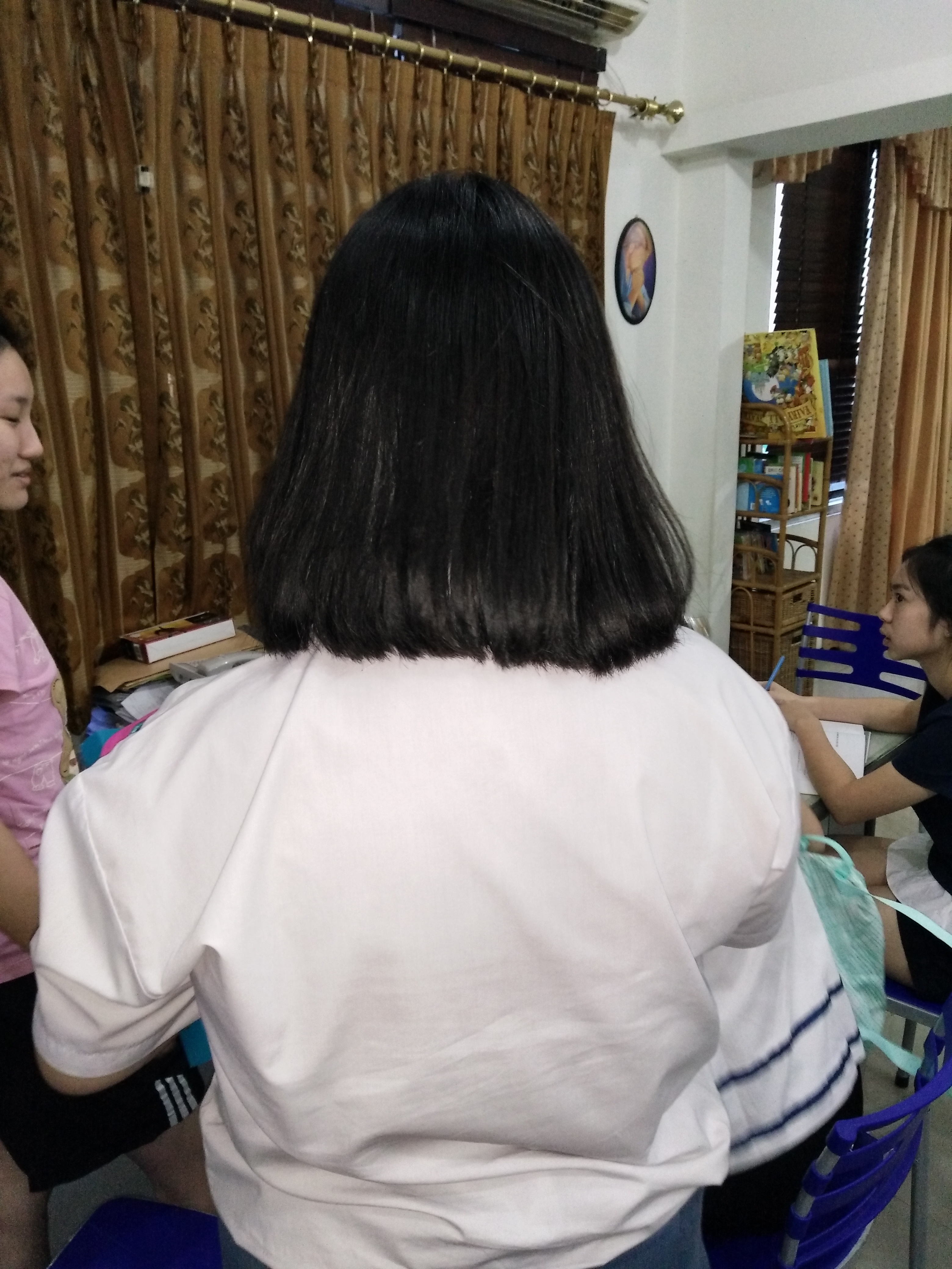 Filerear View Of A Student Girl With A Bob Haircut 08g