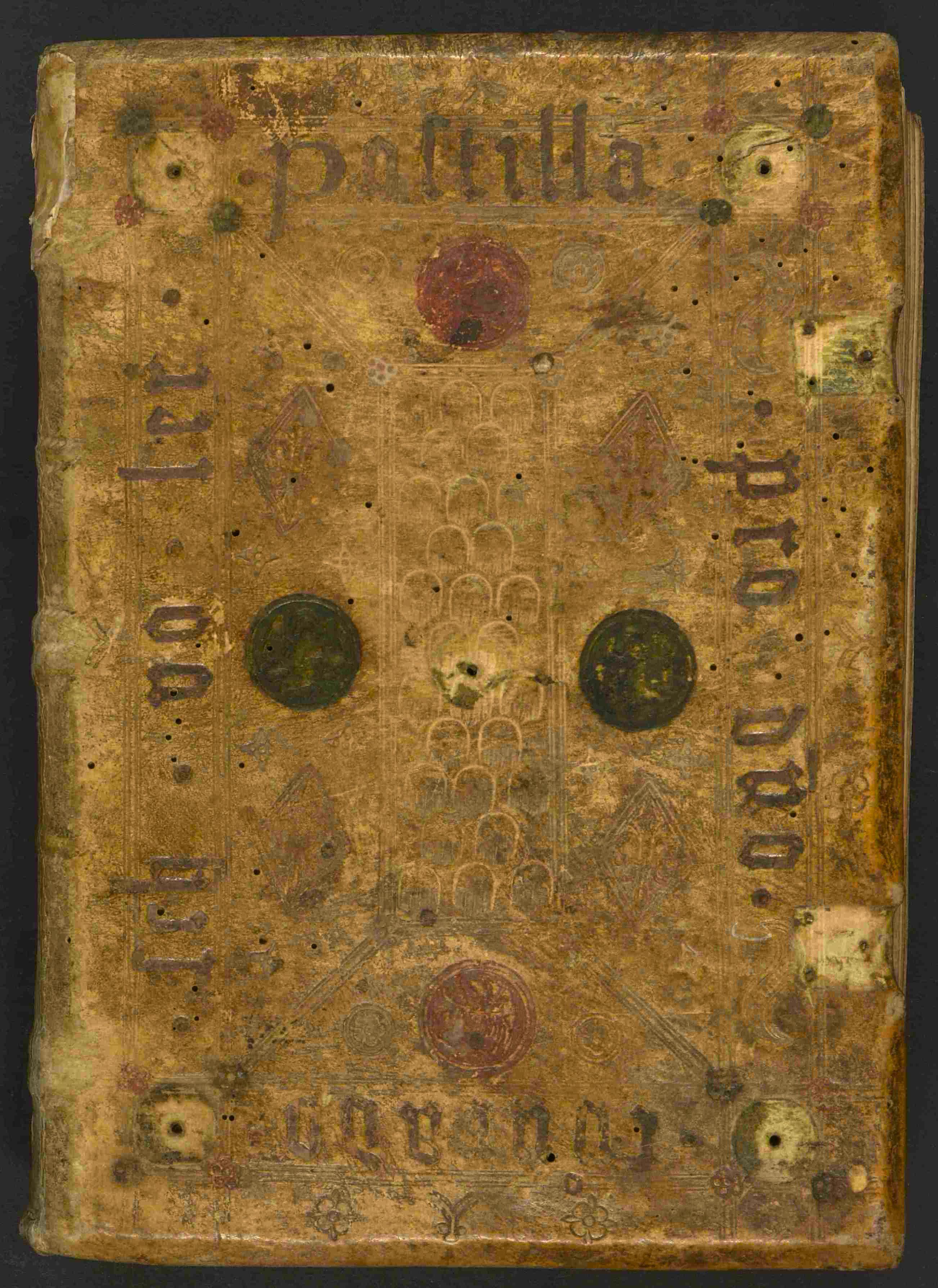 Sermones de tempore et de sanctis, Vorderdeckel mit handschriftlichem Besitzervermerk.jpg